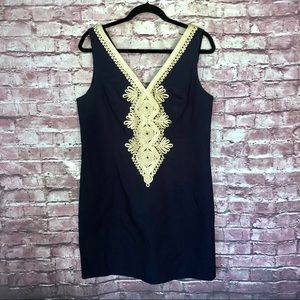 Lilly Pulitzer Navy junie shift size 14 gold